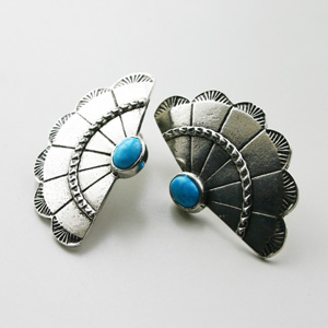The2BANDITS/Concho Wing Earring Silver, Howlite Turquoise