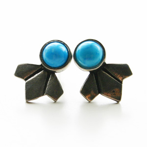 The2BANDITS/Daytripper Studs Silver, Howlite Turquoise