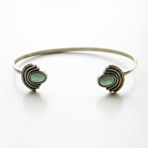 The2BANDITS/Moonlight Open Cuff Silver, SImulated Opal