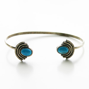 【70%OFF】 The2BANDITS/Moonlight Open Cuff Silver, Howlite Turquoise