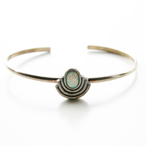The2BANDITS/Moonlight Cuff Silver, Simulated Opal