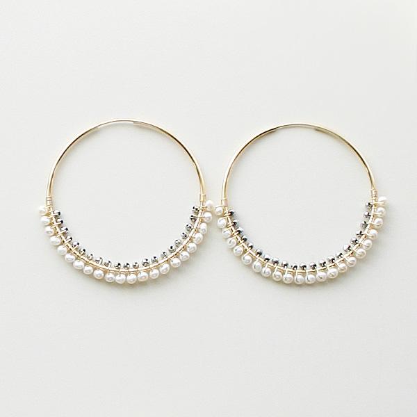 "viv&ingrid/Luna Hoops Size & Metal: 1.75"" LRG Gold Silver Hematite/White Pearl"