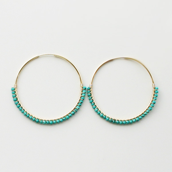 "【20%OFF】 viv&ingrid/1.75""14K gold filled endless hoop wrapped with Bluegreen Turquoise LARGE"