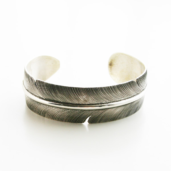 HARPO/Large Feather Bracelet in Silver