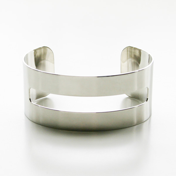 "a.v.max/cut out cuff 1"" imitation rhodium plated brass"