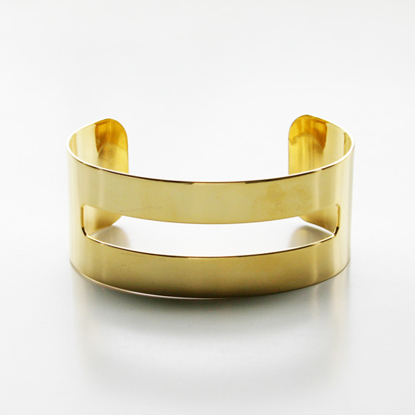 "a.v.max/cut out cuff 1"" 22K gold plated brass"