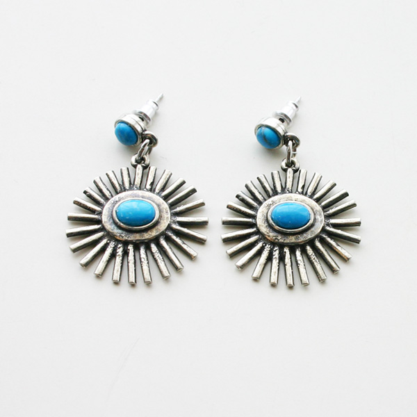 The2BANDITS/Sunrise Earrings Silver Howlite Turquoise