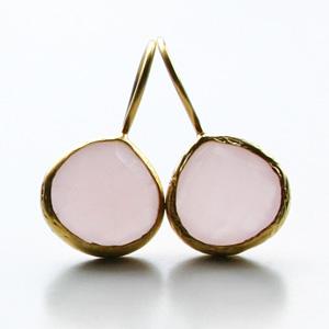 CORALIA LEETS/12MM FRENCH WIRE TEARDROP EARRING IN ROSE QUARTZ