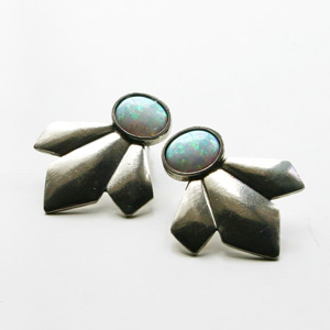 The2BANDITS/Scarecrow Earrings Silver, Simulated Opal