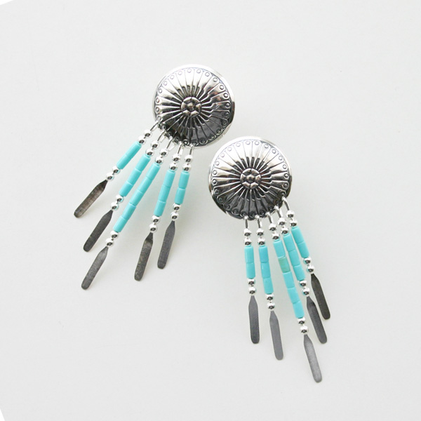 HARPO/CONCHO BEADED EARRINGS ER09/E310 TURQUOISE
