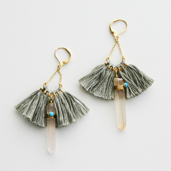 【60%OFF】 SHASHI NYC/Celestina Earring in Taupe