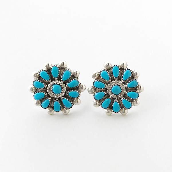 HARPO/BO08 Small Flower Post Earrings in Turquoise