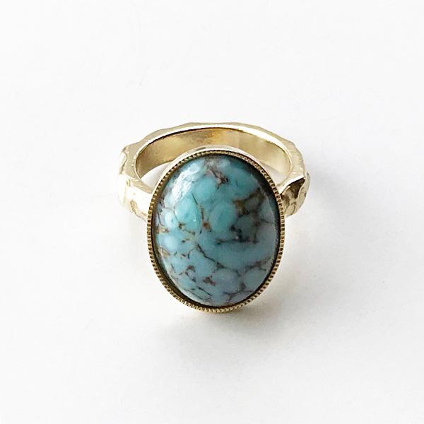 gren/vintage glass stone RG M/TRQ