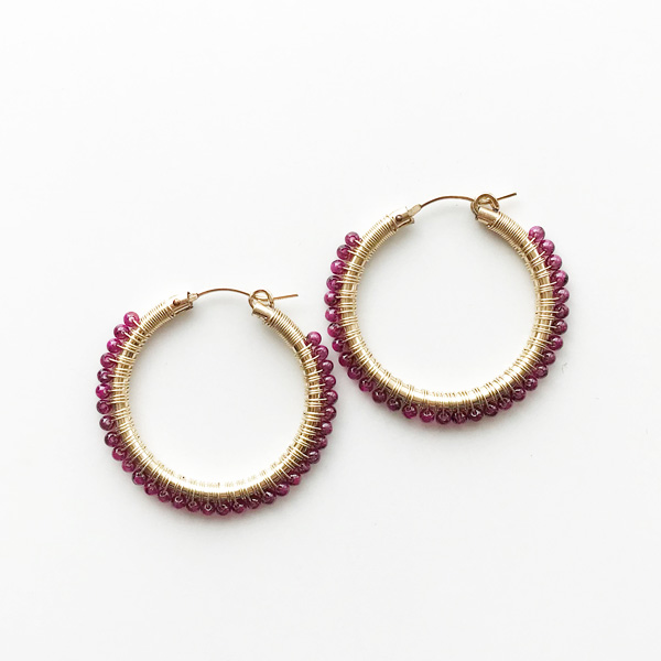 "viv&ingrid/1.25""14K gold filled endless hoop wrapped w/garnet MEDIUM"