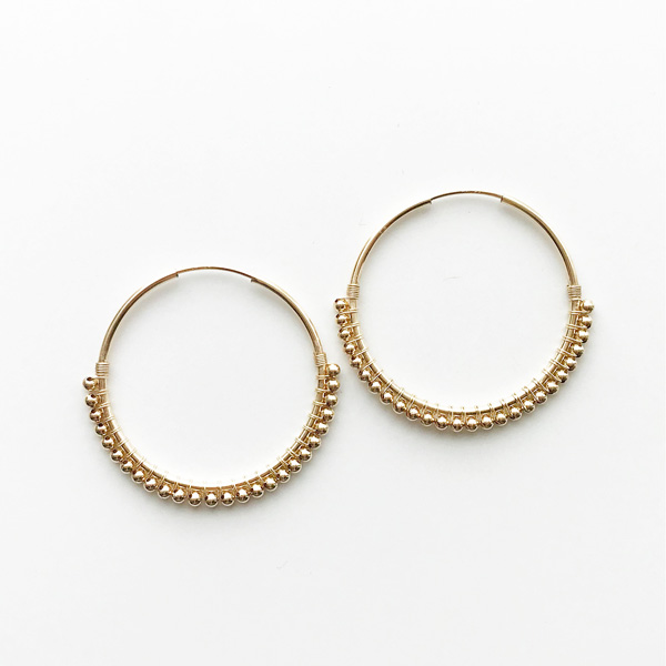 viv&ingrid/1.25'' 14k gold-filled endless hoop wrapped with gold beads. MEDIUM