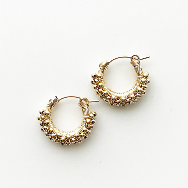 viv&ingrid/.75'' 14k gold-filled hoop wrapped w/3 rows of gold beads. SMALL