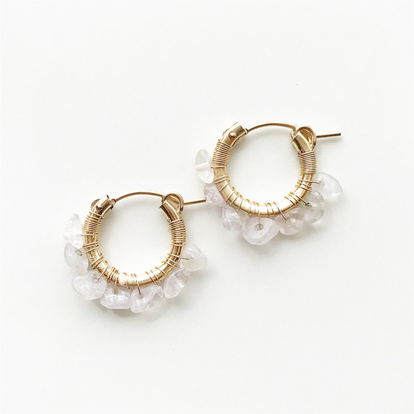 viv&ingrid/.75'' 14k gold fill hoops hand-wrapped with semiprecious Rose Quartz chip stones. SMALL