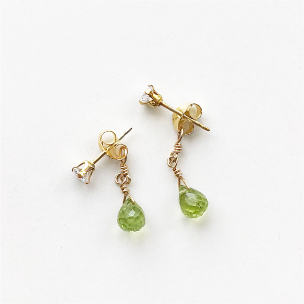 viv&ingrid/Double Chain Earrings/Top CZ Diamond/ Peridot (Gold)