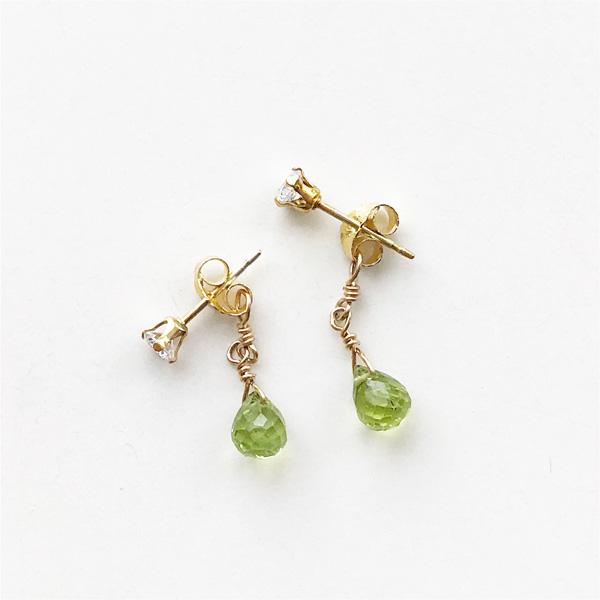 viv&ingrid/Double Chain Earrings/Top CZ Diamond/ Peridot (Gold)