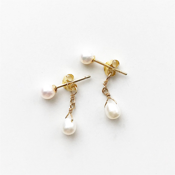viv&ingrid/Double Chain Earrings/Top pearl/ Pearl (Gold)