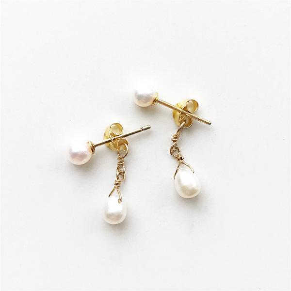viv&ingrid/Double Chain Earrings/Top pearl/ Pearl (Gold)