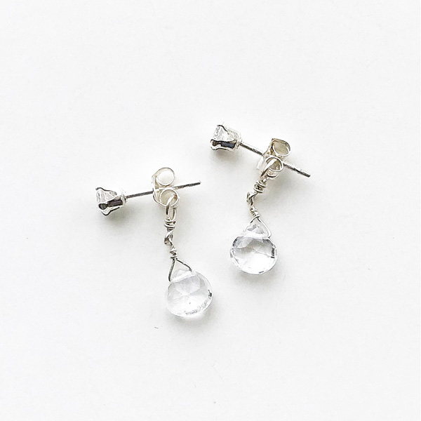 viv&ingrid/Double Chain Earrings/Top CZ Diamond/Diamond (Silver)