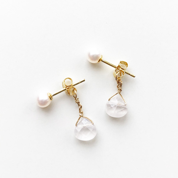 viv&ingrid/Double Chain Earrings/Top Pearl/ Rose Quartz (Gold)