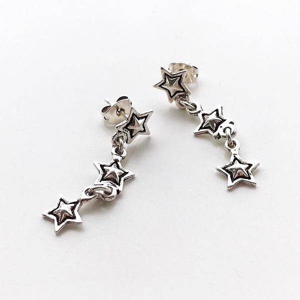 PHILIPPE AUDIBERT/3April earring pewter silver color,
