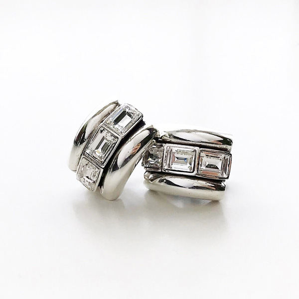 PHILIPPE AUDIBERT/Dellya Clip Stones Earring, Pewter Silver Color, Crystal Swarovski rhinestone,