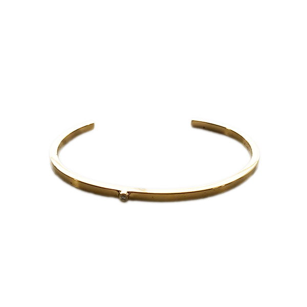 jennifer zeuner/STACY-1/Skinny Bangle with 1 Stone Yellow Gold