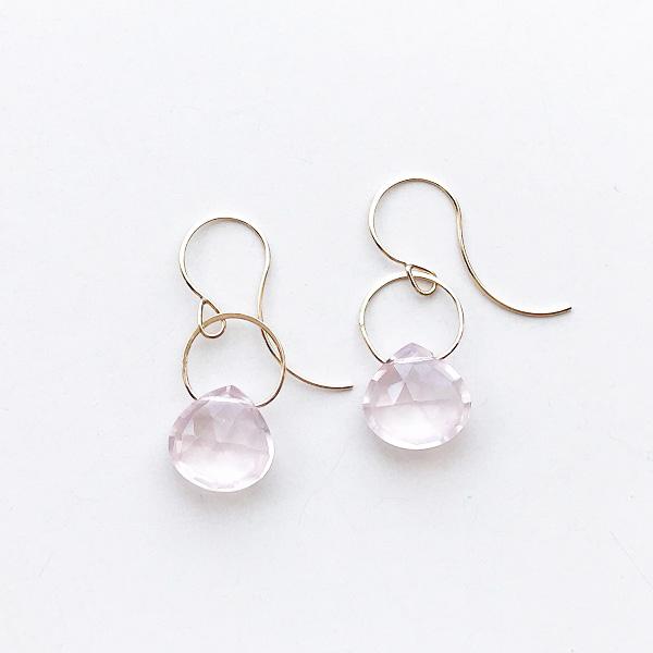 MELISSA JOY MANNING/ 14 karat yellow gold Rose Quartz single drop earring