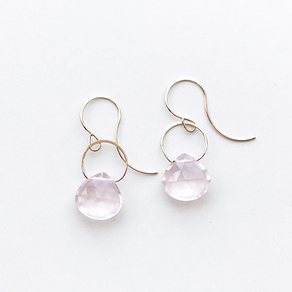 MELISSA JOY MANNING/ 14 karat yellow gold Rose Quartz single drop earring