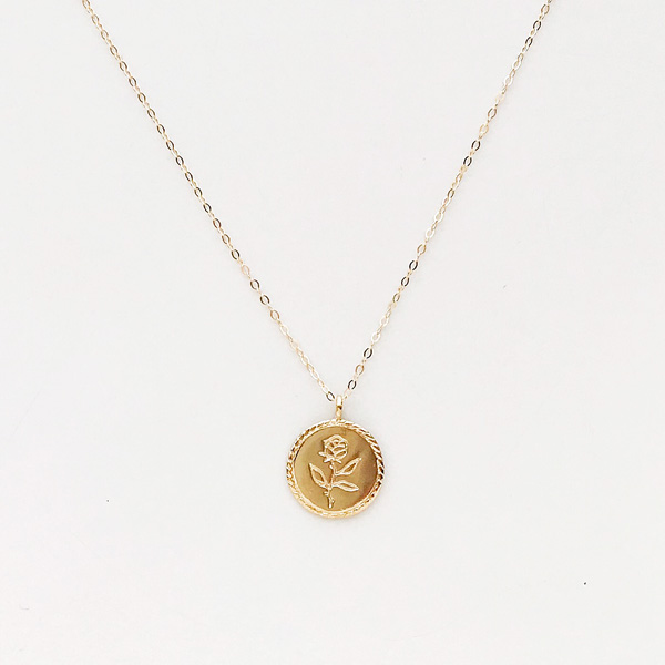 Wolf Circus/Rose Coin Necklace in 14K gold plated,