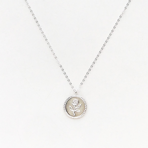 Wolf Circus/Rose Coin Necklace in Sterling Silver,