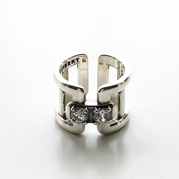 【予約販売/7中再入荷(変更有)】 PHILIPPE AUDIBERT/Clarence stone ring brass silver color, Crystal Swarovski Zirconium,