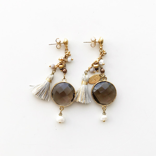 Gas Bijoux/Earring:Serti/pondi/pm/o/smokey