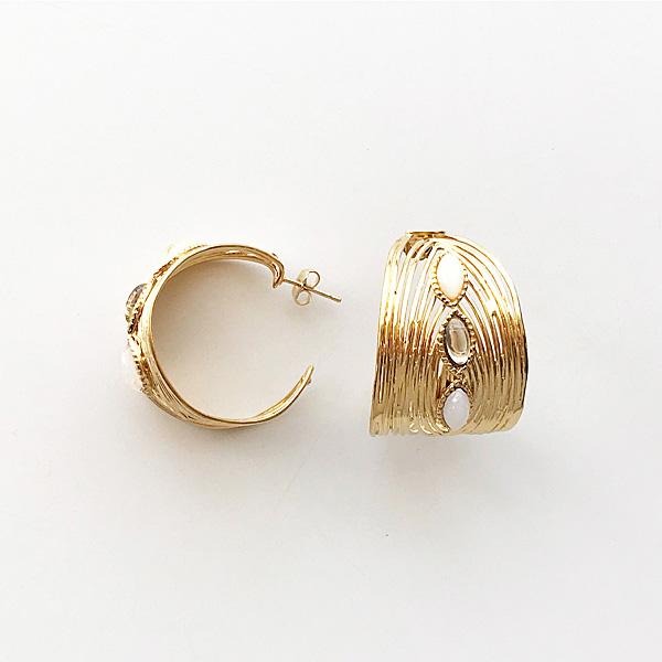 Gas Bijoux/Earring:Creole/wave/o/c