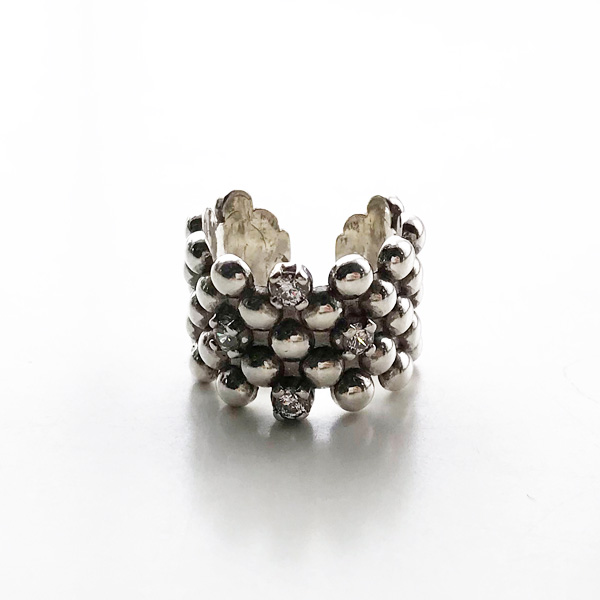 PHILIPPE AUDIBERT/Sid zirconium ring brass silver color, Crystal Swarovski Zirconium