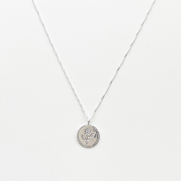 """Wolf Circus/20"""" rose coin pendant with singapore chain/sterling silver,"""