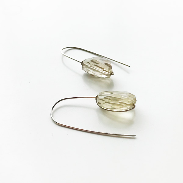 KYLER BY JOY O/Hand Tied Smokey Topaz Dangles in Silver