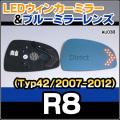 LM-AU03B AUDI/アウディ■R8(Typ42/2007-2012)■LEDウインカードアミラーレンズ・ブルードアミラーレンズ
