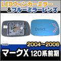 LM-TO15D■MarkX/マークX(GRX120前期/2004/11-2006/10)■TOYOTA/トヨタ LEDウインカードアミラーレンズ・ブルードアミラーレンズ
