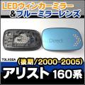 LM-TOLX02A■LEDウインカードアミラーレンズ■TOYOTA トヨタ ARISTO アリスト 160系 後期 2000/07-2005/01 ブルードアミラーレンズ