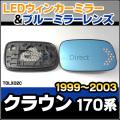 LM-TOLX02C Crownクラウン(S170系 1999.09-2003.12 H11.09-H15.12) TOYOTA トヨタ LEDウインカードアミラーレンズ・ブルードアミラーレンズ