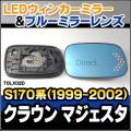 LM-TOLX02D LEDウインカードアミラーレンズ CrownMajestaクラウンマジェスタ(S170系 1999.09-2002.05 H11.09-H14.05) ブルードアミラーレンズ