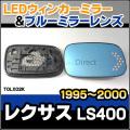 LM-TOLX02K Lexusレクサス LS400(F20系 1995-2000) TOYOTA トヨタ LEDウインカードアミラーレンズ・ブルードアミラーレンズ