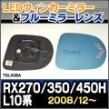 LM-TOLX08A■Lexus/レクサス RX270/350/450H(L10系/3代目/2008/12up)■TOYOTA/トヨタ LEDウインカードアミラーレンズ・ブルードアミラーレンズ