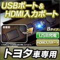 USB-TO Bタイプ TOYOTA トヨタ車系 USB充電&HDMI入力 カーUSBポート
