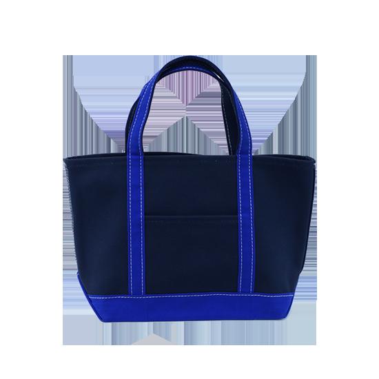トートバッグ L×キャンバス ネイビー x ブルー