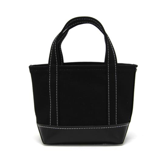 トートバック|帆布×ボトムレザー|S|ブラック x ブラック(白糸)
